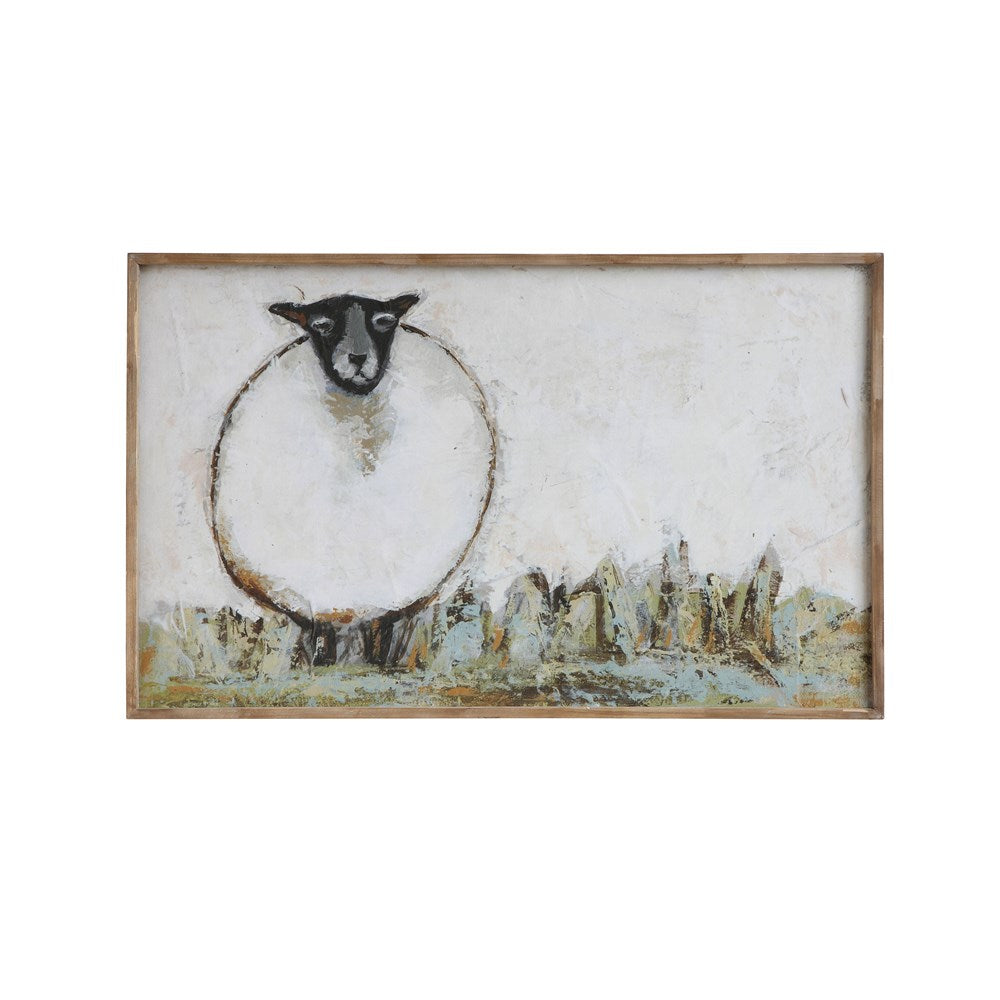 Wood Framed Canvas Wall Decor w/ Sheep