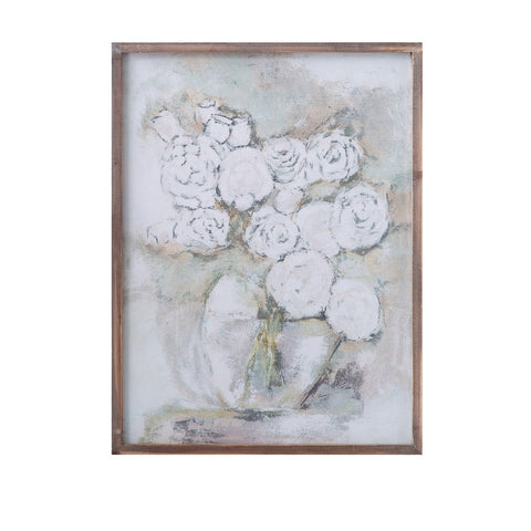 Wood Framed Wall Decor w/ Flowers in Vase