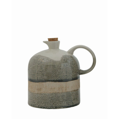 Ceramic Jug w/ Cork Stopper, Reactive Glaze
