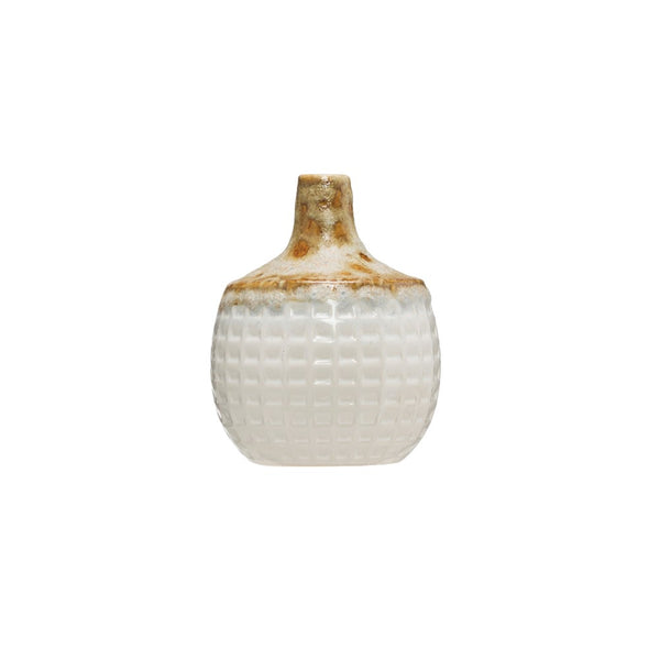 "4-3/4"" Round x 6""H Stoneware Basket Weave Vase, Reactive Glaze, White (Each One Will Vary)"