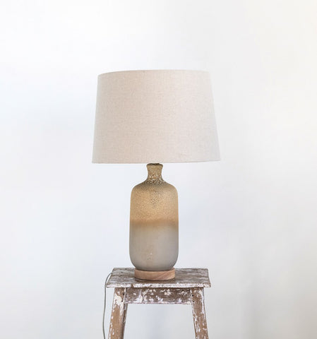 Ceramic Table Lamp w/ Linen Shade, Reactive Glaze, Beige