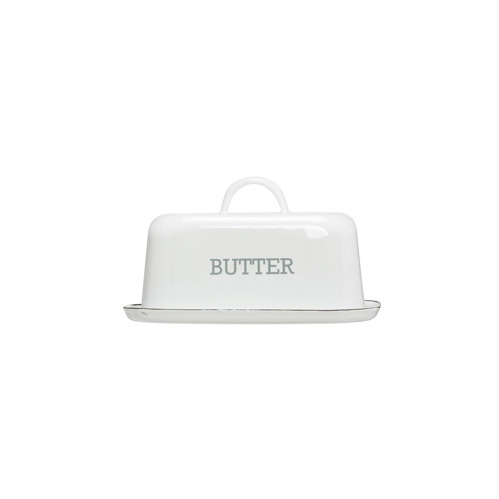 Enameled Butter Dish | White w/ Black Rim
