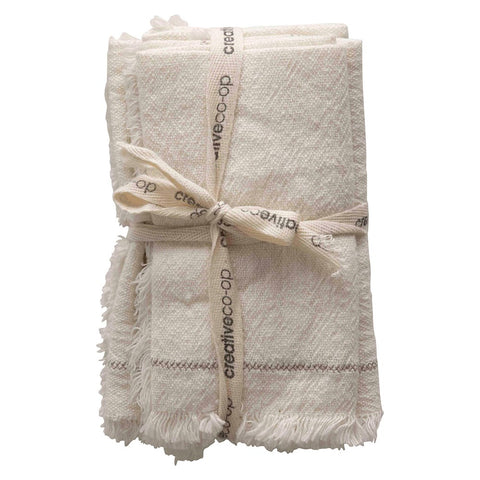 Square Woven Cotton Napkins Cream Color | Set of 4