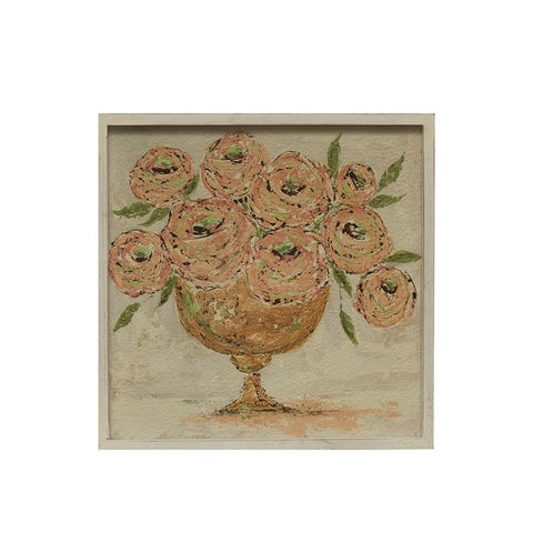 Wood framed wall decor w/flowers in vase