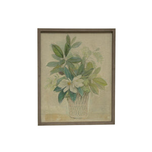 Wood Framed Wall Decor w/ Magnolia Floral Image