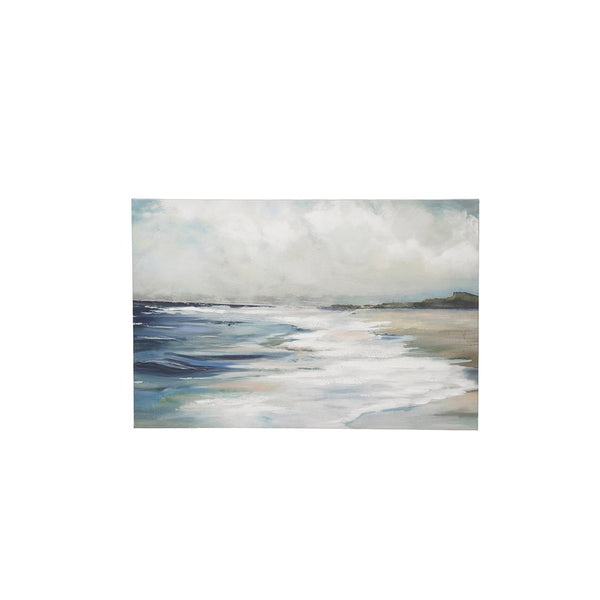 "23-1/2""W x 15-3/4""H Hand-Painted Canvas Wall Decor w/ Beach Scene"