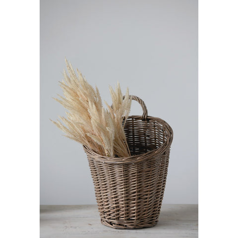 "10"" Round x 14.75""H Rattan Wall Basket with Handle (Hangs or Sits)"