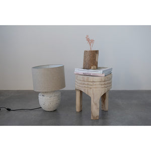 Distressed White Cement Table Lamp