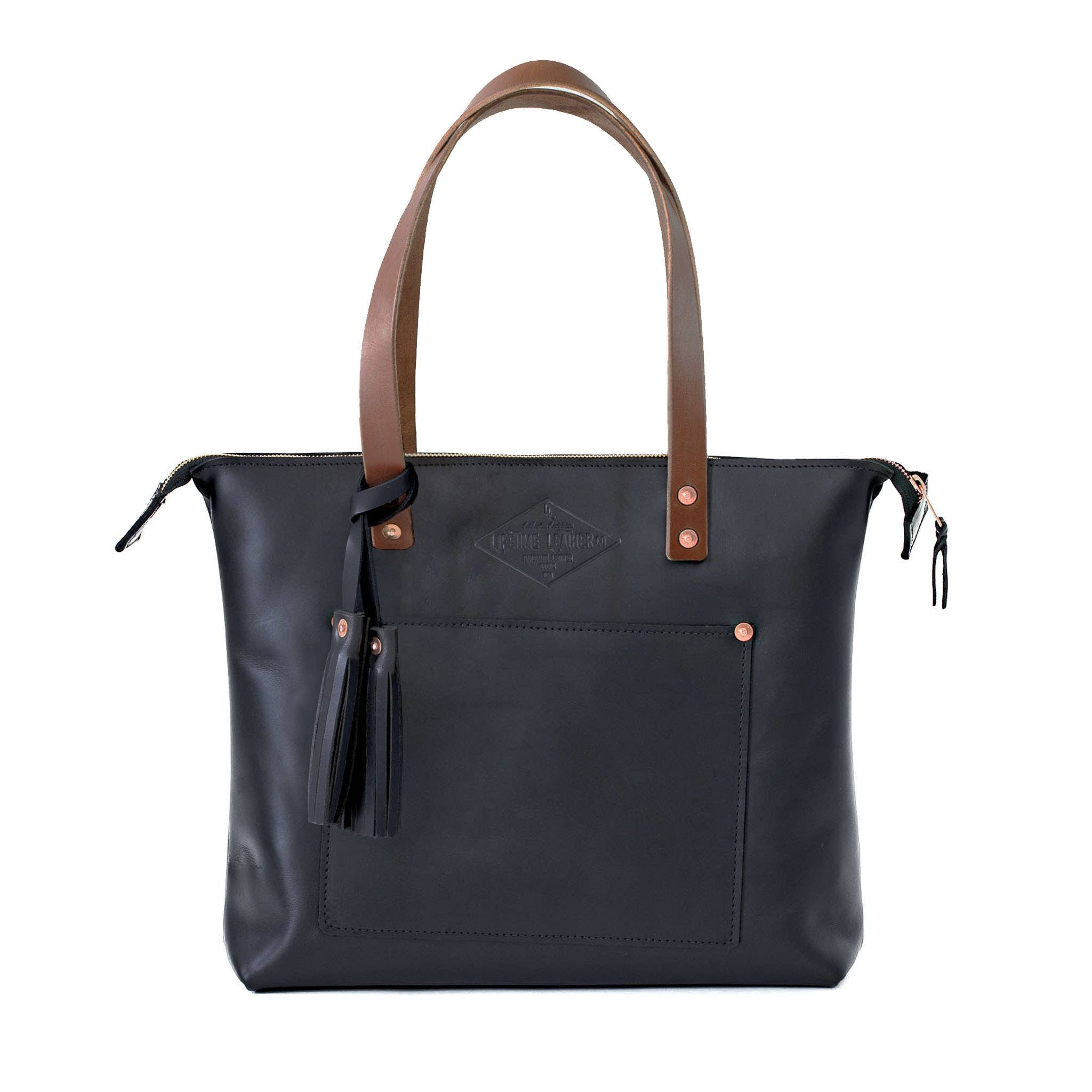 Genuine Leather Lifetime Tote - Zippered