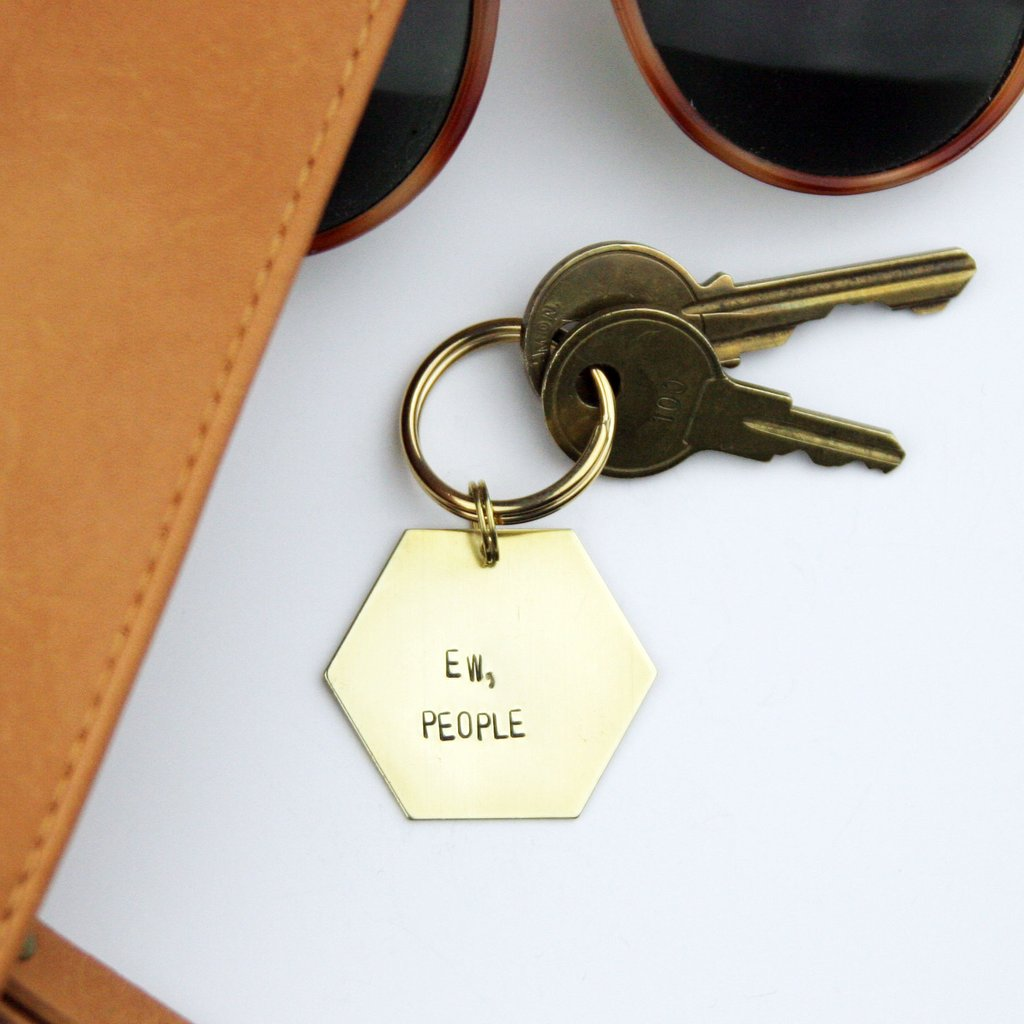 Peachtree Lane - Ew People - Stamped Keychain