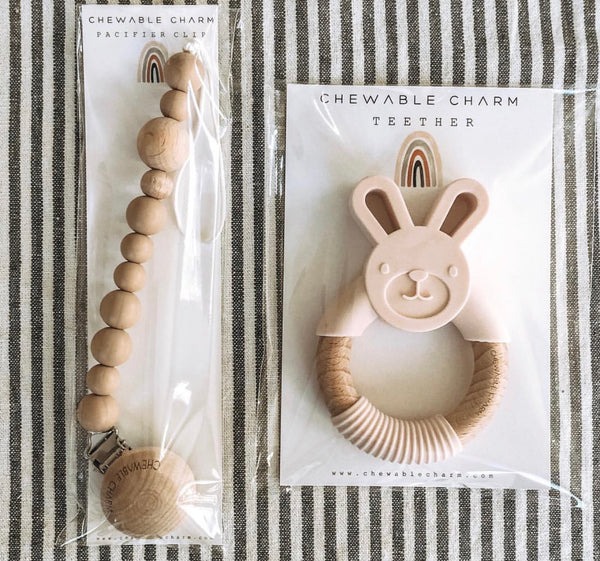 Chewable Charm - Bunny Silicone + Wood Teether - Mint