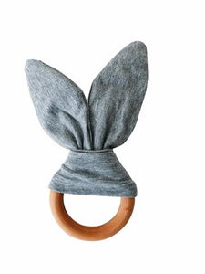Crinkle Bunny Ears Teether - Grey