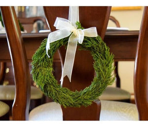 "Preserved Emerald Cypress 8"" Wreath with Ribbon"