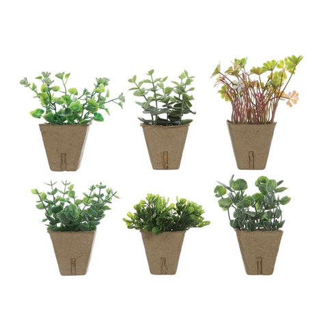 "4-3/4""H Faux Plant in Paper Pot, 6 Styles"
