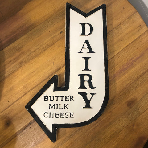 Dairy Arrow Metal Sign