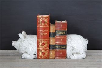 Crackle White Pig Bookends