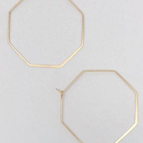 Smaller Stylish Octagon Wire Hoop Earrings