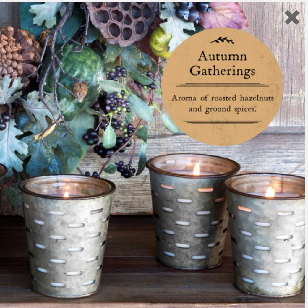 Autumn Gatherings Olive Bucket Candle