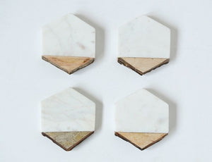 Hexagon Marble w/Mango Wood Coaster | Set of 4