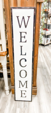 Vertical Metal Welcome Sign