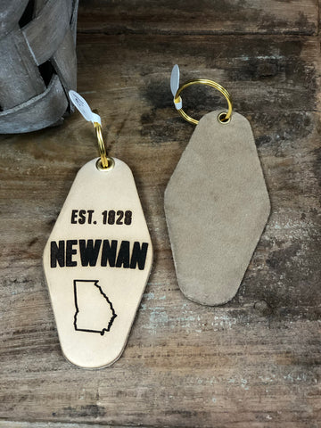 Newnan, Georgia - Leather & Velvet Keychain- Sand
