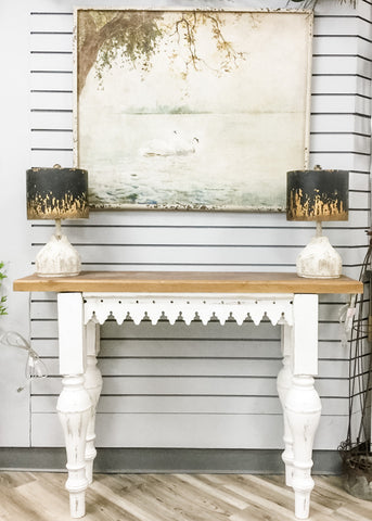 White Distressed Scalloped Table