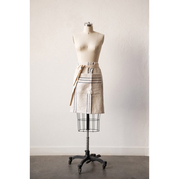 Cotton Striped Waist Apron w/ Pocket