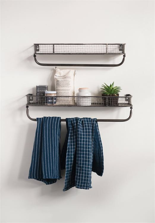 Metal Wall Shelf with Towel Bar