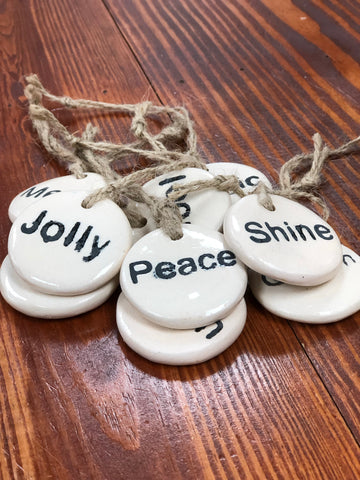 Round Stoneware Tag Ornament - 9 styles