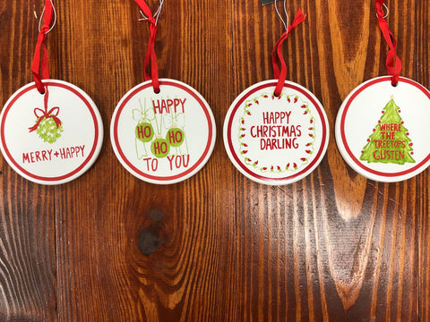 Round Ceramic Ornament with Saying | 4 styles