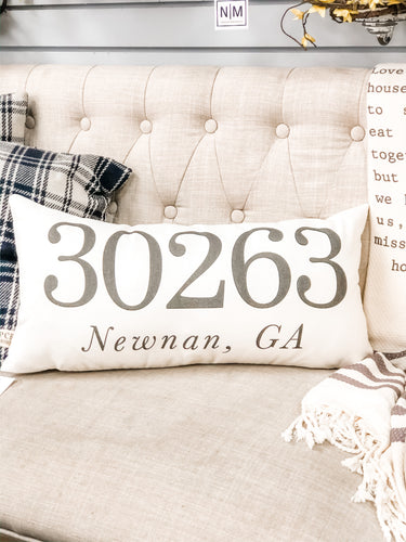 30263 Newnan, GA Zip Code Lumbar Pillow