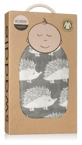 Milkbarn Baby Organic Cotton Swaddle Blanket - Gray Hedgehog