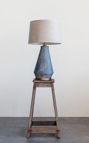 Ceramic Table Lamp w/ Natural Linen Shade, Blue Textured Glaze