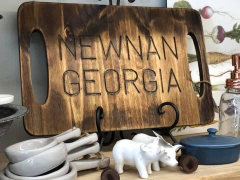 Engraved Newnan Georgia Cutting Board Tray - Open Handles
