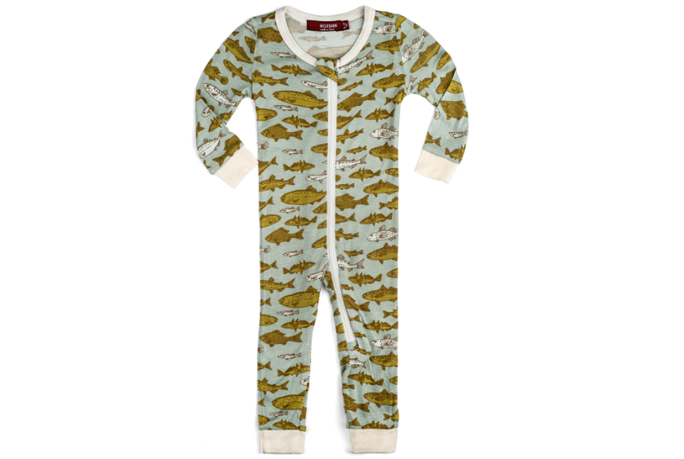 Bamboo Zipper Pajama - Blue Fish
