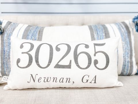 30265 Newnan, GA Zip Code Lumbar Pillow