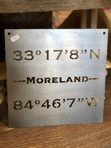 Latitude and Longitude Metal City Sign
