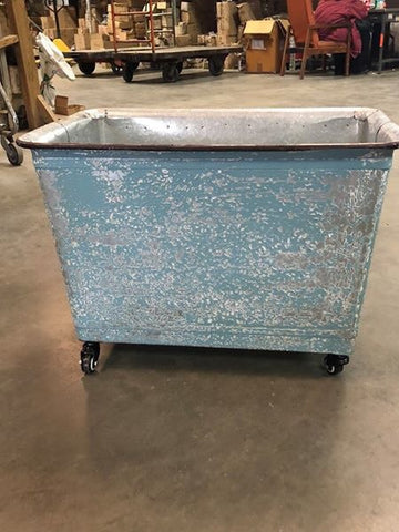 Vintage Blue Metal Rolling Bin Cart