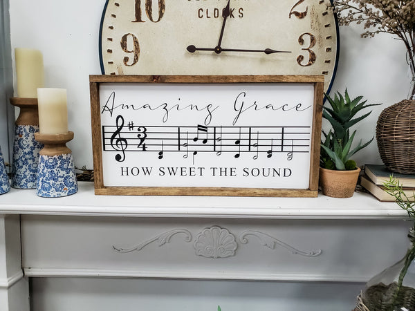'Amazing Grace' Wooden Sign