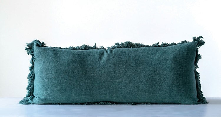 Cotton Pillow w/ Fringe, Green