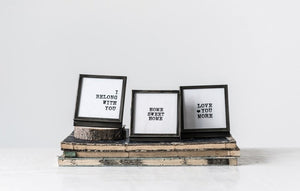 Square Metal & Glass Frame w/ Easel & Saying, 3 Styles