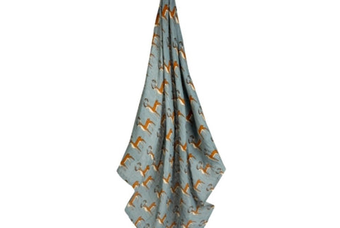 Milkbarn Baby Organic Cotton Swaddle Blanket-Blue buck