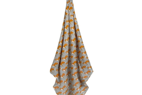 Milkbarn Baby Organic Cotton Swaddle Blanket-Orange fox