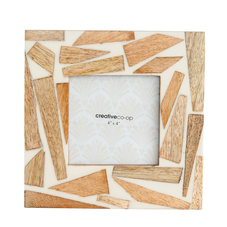 "7"" Square Wood & Resin Photo Frame"