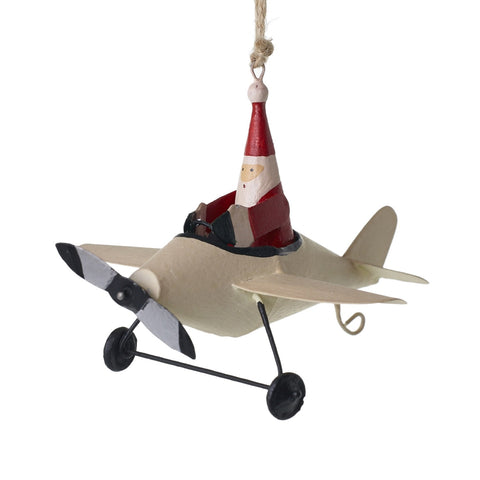 Santa Airplane Ornament