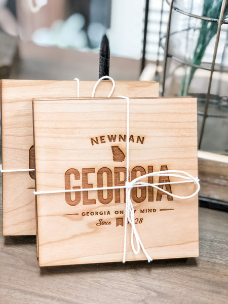 Newnan Georgia Wooden Coasters • Handmade Set of 4