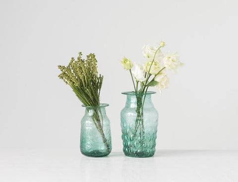Hand-Blown Recycled Glass Vase, Green