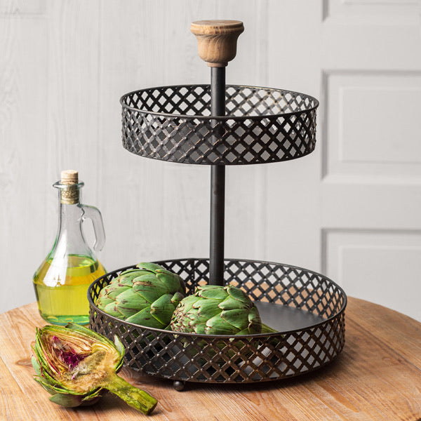 Two-Tier Black Perforated Stand Tray