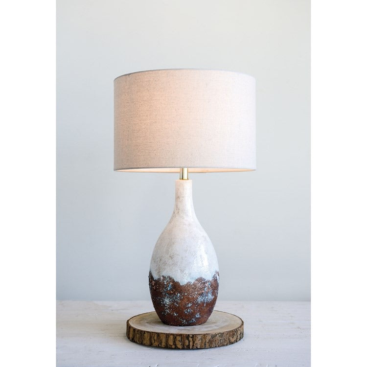 Ceramic Table Lamp with Linen Shade | White Reactive Glaze