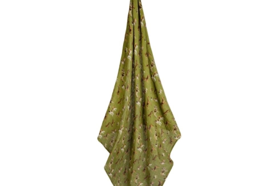 Milkbarn Baby Organic Cotton Swaddle Blanket-Green dog